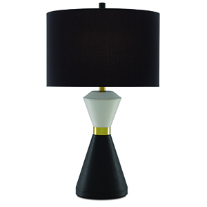 Cannes Ivory, Black and Brushed Brass One-Light Table Lamp