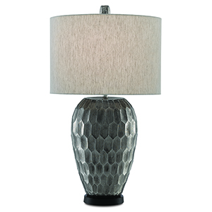 Phos Antique Nickel and Black One-Light Table Lamp