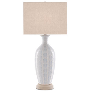 Saraband Sky Blue and Cream One-Light Table Lamp