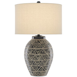 Himba Glossy Black and Sand One-Light Table Lamp