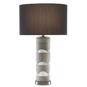 Primitivo Cement Gray and Black One-Light Table Lamp