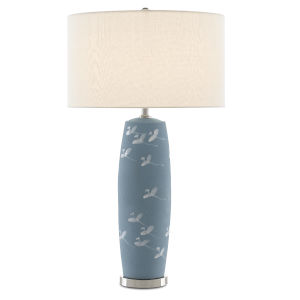 Sylph Pastel Blue and Polished Nickel One-Light Table Lamp