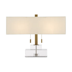 Chiara Clear and Antique Brass Two-Light Table Lamp