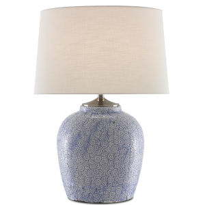 Santorini Blue Stone and Antique Nickel One-Light Table Lamp