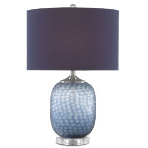 Ionian Ocean Blue and Polished Nickel One-Light Table Lamp