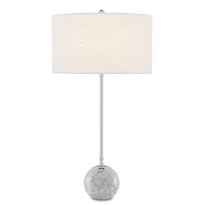 Villette Gray White Veined Marble Polished Nickel One-Light Table Lamp