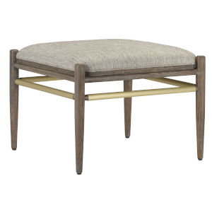 Visby Light Pepper and Brushed Brass Calcutta Linen Ottoman