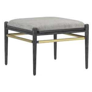 Visby Cerused Black and Brushed Brass Smoke Fabric Ottoman