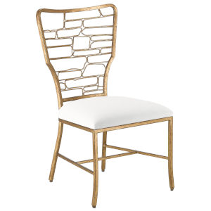 Vinton Muslin and Guilt Bronze Side Chair