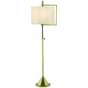 Hopper Brushed Brass and Oil Rubbed Bronze One-Light Adjustable Floor Lamp