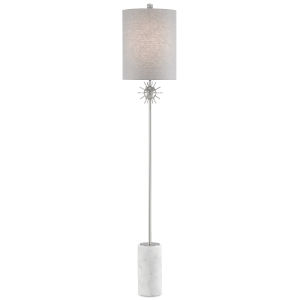 Sundrop Polished Nickel and White One-Light Floor Lamp
