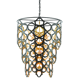 Mauresque Bronze Gold Nine-Light Chandelier