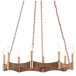 Mallorca Natural and Dark Gold Leaf Eight-Light Chandelier
