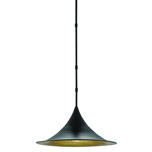 Aberfoyle Satin Black and Gold Leaf One-Light Pendant