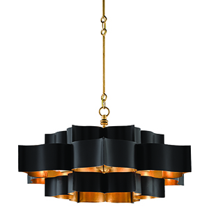 Grand Satin Black and Gold Leaf Six-Light Chandelier