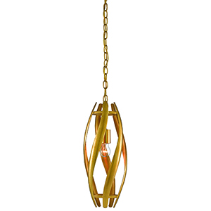 Trephine Gold Leaf and Painted Gold One-Light Mini Pendant