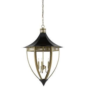 Blythe Black and Antique Brass Three-Light Lantern