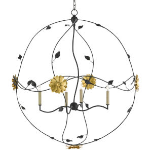 Oona French Black and Contemporary Gold Four-Light Chandelier