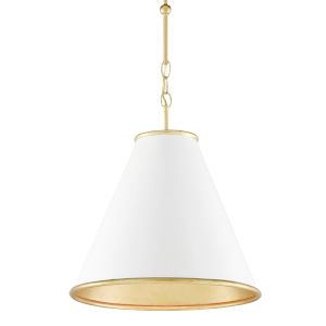 Pierrepont Gesso White and Gold One-Light 16-Inch Pendant