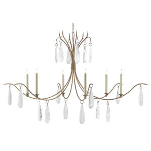 Marshallia Rustic Gold and Faux Rock Crystal Six-Light Chandelier