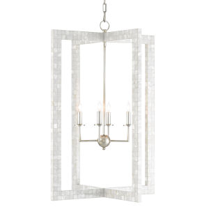 Arietta Pearl and Silver Four-Light Chandelier