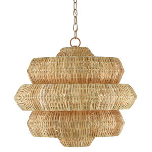 Antibes Khaki Natural Rattan Three-Light Chandelier