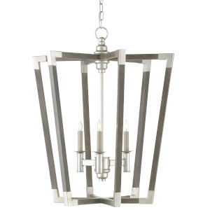 Bastian Chateau Gray and Silver Three-Light Chandelier