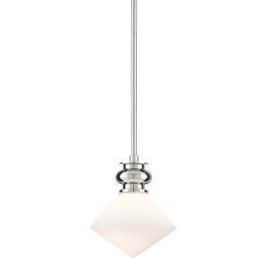Rycroft Polished Nickel and White One-Light Mini Pendant