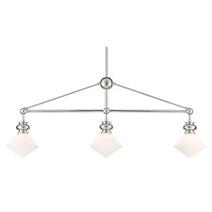 Rycroft Polished Nickel and White Three-Light Chandelier