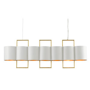 Chaunce Gesso White and Gold Seven-Light Chandelier