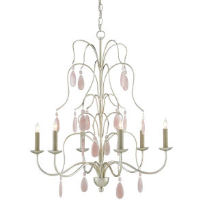 Primevere Silver and Natural Pink Six-Light Chandelier