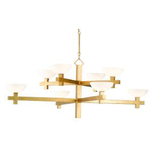 Poitou White and Gold Eight-Light Chandelier