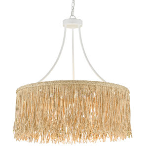 Samoa Gesso White and Abaca Rope Three-Light Chandelier