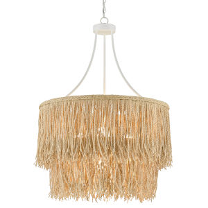 Samoa Gesso White and Abaca Rope Four-Light Chandelier