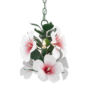 Miami Beach Glossy White, Pink and Green Three-Light Chandelier