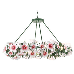 Miami Beach Glossy White, Pink and Green 24-Light Chandelier