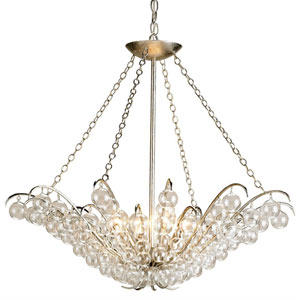 Miami Beach Blush Pink and White Six-Light Chandelier