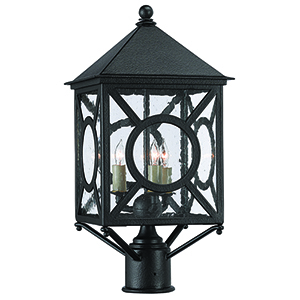 Ripley Midnight and Seeded Glass Three-Light Post Light