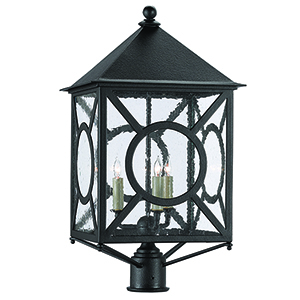 Ripley Midnight and Seeded Glass Three-Light 14-Inch Post Light