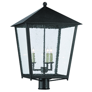 Bening Midnight and Seeded Glass Three-Light 20-Inch Post Light