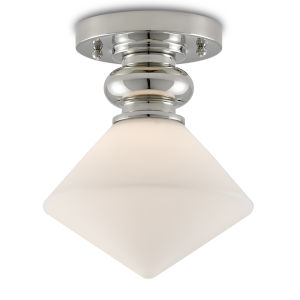 Rycroft Polished Nickel and White One-Light Flush Mount