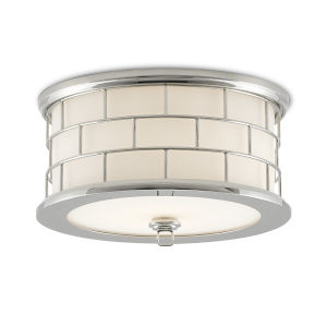 James White and Polished Nickel LED Flush Mount