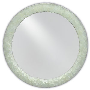 Arista Harlow Silver Leaf and Seaglass Round Mirror