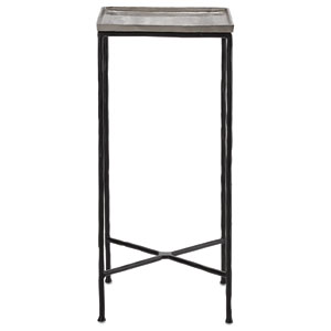 Boyles Black Iron and Antique Silver  Drinks Table