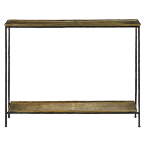 Boyles Black Iron and Antique Brass  Console Table