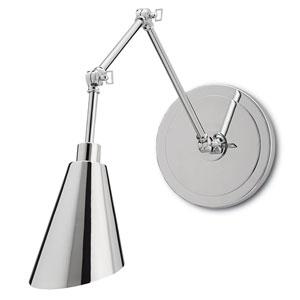Garamond Chrome and White One-Light Swing Arm