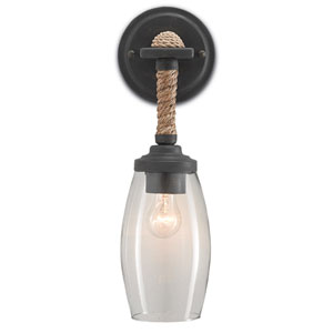 Hightider French Black and Natural One-Light Wall Sconce