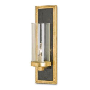 Charade Contemporary Gold Leaf and Black Penshell Crackle Wall Sconce