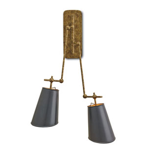 Jean-Louis Old Brass and Black 11-Inch Two-Light Wall Sconce