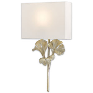 Gingko Distressed Silver Leaf One-Light Fluorescent Wall Sconce